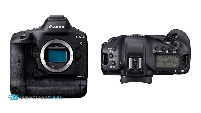 نمایی از بالای دوربین عکاسی Canon EOS 1D X Mark III